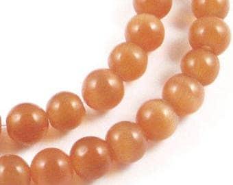 5.5mm Round Cat's Eye Beads-MEDIUM BURNT ORANGE (65 beads)
