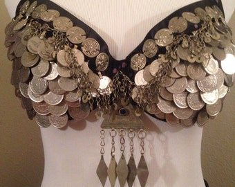 Tribal fusion , Tribal, ATS, classic Bellydance coin bra.
