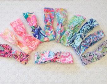 Preppy Wide Yoga Wrap Lilly Pulitzer Fabric Headband in 12 Prints