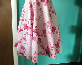 Sock Hop- Handmade Circle Skirt from 1950's Glitter Leaf Cotton Fabric