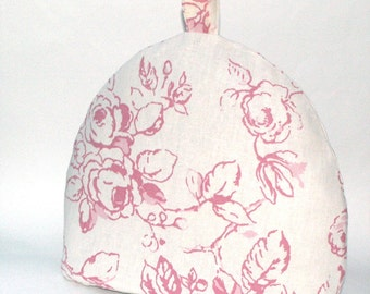 Cabbage Rose Tea Cosy / Tea Pot Cozy - Raspberry Red on White Linen with Co-ordinating Roses Lining - English Rose Tea Cosy - Handmade in UK