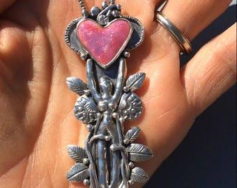 Warrior Woman Necklace, enamel heart necklace,