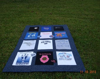 Tshirt quilt with 12 of your favorite shirts great for that military loved one in your life