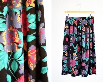 New Attitude Vintage Floral Print High Waist Midi Length Woman's Retro Skirt