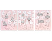 Reserved Listing - Pink and Gray Flower Paintings - Set of Three Original Artworks on Canvas - Large 50x20