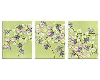 Nursery Decor Wall Art Flower Painting - Green, Pink, and Purple Triptych Canvas - Large 50x20