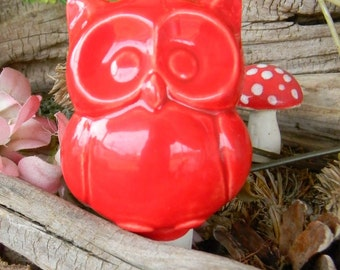 Owl Water Spike  Water System  Ceramic  Glazed Vintage styled Hooter  red water tender  wcm