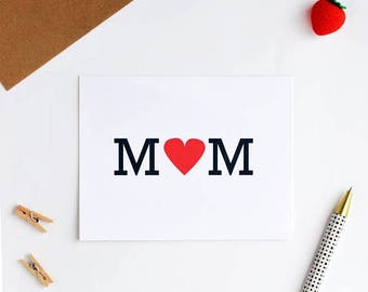 mother's day card, heart MOM card mothers day card