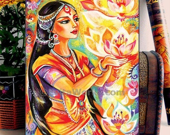 Praying Woman Lotus Goddess Art home decor wall decor Indian woman painting inspirational art, woman art, ACEO wood block, ABDG
