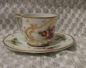 Vintage Limoges France Demitasse Cup and Saucer - Purple Roses
