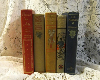 Vintage Book Decor - Illustrated Spine and Cover - Decorative Books - Set of 5