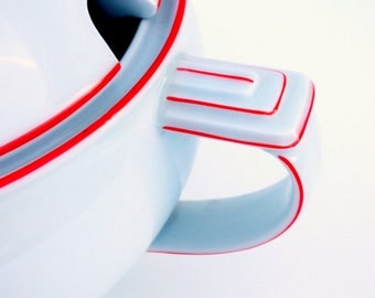 Vintage Art Deco EPIAG Soup Tureen: 1920's Czech Modernist Architectural Motif, White Porcelain w/ Orange Red Trim