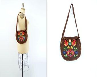 70s Vintage Boho Bag Embroidered Purse Brown Felted Bag Ethnic Shoulder Bag 70s Boho Satchel Handmade Hippie Bag Boho Festival Bag
