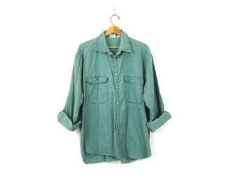 Washed out Cotton Shirt Mens Green Collared Button Down Pocket Shirt Slouchy Minimal Long Sleeve Preppy Vintage 1990s COED Large