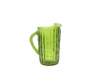 Thick Green glass Pitcher 1960s Table Serving Retro Kitchen Decor