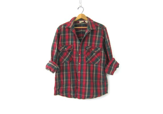 Red & Green Plaid Flannel Shirt Thick Cotton Grunge Shirt Button Up Preppy Rugged Tomboy Boyfriend Work Camping Shirt Unisex Vintage Large