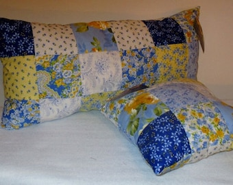 Sunshine Blues and Yellows Rectangle and Square Throw Pillow Set