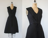 vintage 1960s dress / 60s little black dress / vintage LBD / miss elliette dress / 60s cocktail dress / 60s sailor dress / small medium 26W