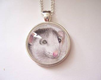 Grey Rat Necklace, Original Pencil Drawing, silver pendant rat jewellery, pet rat gift, grey rat art pendant necklace
