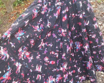 Western 80s does 50s novelty print peasant ruffle skirt cowboy boogie 1980's 1980s rodeo cowgirl pinup