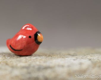 Little Cardinal Bird - Terrarium Figurine - Miniature Ceramic Porcelain Animal Bird Sculpture - Hand Sculpted