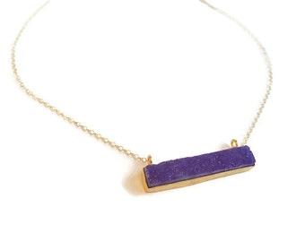 Purple Druzy Gold Bar Necklace - Bar Necklace - Purple Druzy - Gold Necklace Bar