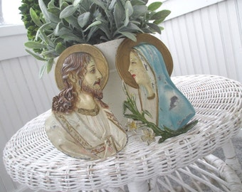 Vintage Religeous Plaques * Shabby Chippy Patina * Jesus * Madonna