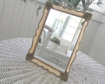 Vintage Pink Irice Mirror * Shabby Cottage * Made in Germany * Original Foil Label