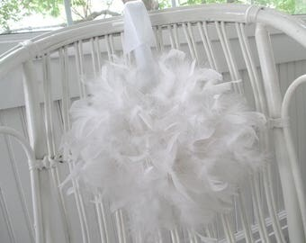 White Feather Wreath * Shabby Chic * Cottage * Jeanne d' Arc