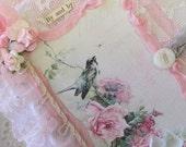 Nature Travel Journal, Bird Notebook, Mixed Media Collage Book, Bird Fabric Journal