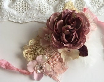 Lace Cuff With Vintage Millinery Bridal Lace Cuff Marie Antoinette Inspired Boho Chic Bohemian Accessories