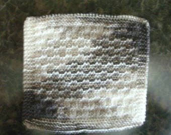 Hand Knit Cotton Dishcloth - measures approximately 9x9 inches