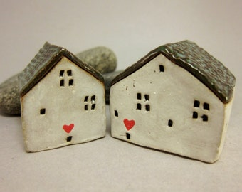 Loving Couple...Collectible Stoneware Houses from elukka...Set of Two