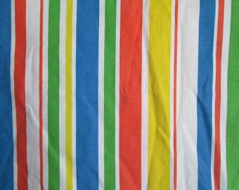 Vintage Dr. Seuss Twin Flat Sheet Primary Stripes