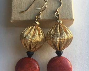 Red Coral & Textured Gold earrings