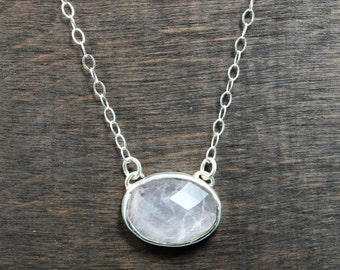 Rose Quartz Rose Cut Necklace, Sterling Silver Rose Quartz Necklace