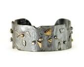 Sterling and 14k Gold Cuff Bracelet - Reticulated Sterling Cuff  - Treasure Trash Cuff