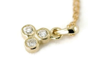 Diamond Trio Necklace - Yellow, White or Rose Gold - Three Diamond Pendant - Choose Your Stone