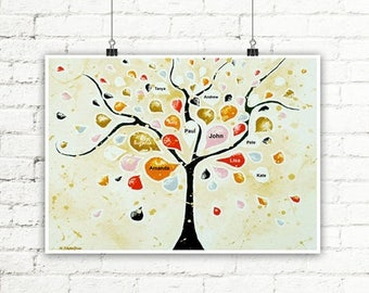 Custom Family Tree Wall Art, Personalized Family Wall Decor, Gift For Mom and Dad, Anniversary Grandparents Gift