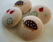 Set of 8 Hedgehog-only Fabric-Covered Buttons