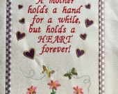 Mother - embroidered quilt block - ready to sew or frame 8 3/4 in x 11 1/2 in
