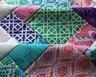 Honey Child Unfinished Quilt Top - Jennifer Paganelli - 38 x 38 in / pink, purple, teal, green / ready to quilt / floral / shower gift girl