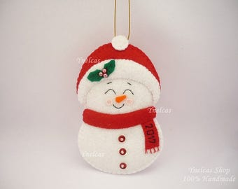 Personalized  Boy Snowman Felt Christmas Ornament for Baby Boy  with Name and Year 2017 - ONE ORNAMENT