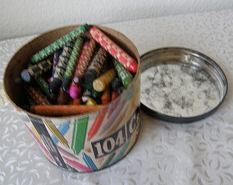 vintage CRAYONS in round paper box with metal lid