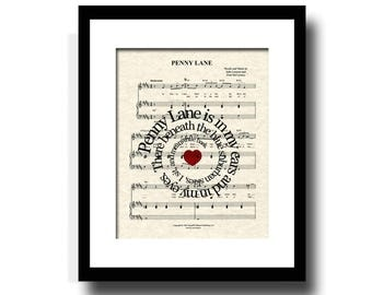Penny Lane by The Beatles Song Lyric Sheet Music Art Print,  Beatles Music Art, Custom Art Print, Names and Date, Nursery Art, Kids Art
