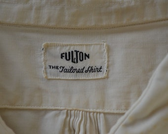 Vintage FULTON Tailored Shirt 1950's work wear USA made embroidered indian