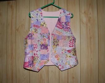 """Pink Patchwork Vest for 40"""" bust"""