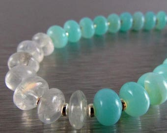 25 % OFF Peruvian Blue Opal And Moonstone Bracelet With Magnetic Clasp