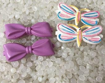 vintage  barrette plastic childs barrettes, bright white butterflies colorful highlights , purple bows