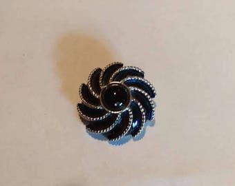 AVON Blue Moonwind Pinwheel Brooch Pin Vintage 1970s Scarf Clip
